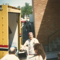 Here's Mark, loading band gear for an early Fighter gig. - Kevin Simnacher