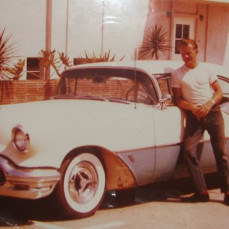 Here's my Dad with one of the many new cars he bought in the 1950s ~ an Oldsmobile, he loved those and Corvettes. - Carole Niemietz