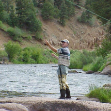 Greg angling the South Platte River, near Deckers, CO - Kevin Scofield