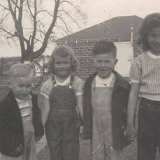 This is one of my favorite pictures of the four oldest Burke grandchildren and cousins. Ron Freidhof, Cynthia Fortune Butler, George Freidhof and Dianna Fortune Martinson.  I bet there were fun time when these four got together at Grandpa and Grandma Burke's house!  - Julie Freidhof