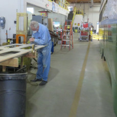 John sanding on doors for one of the Streetcars he donated to Kenosha, which was painted San Francisco colors. It was my honor to work with John at East Troy and Kenosha. He was very dedicated to preserving the streetcars. He will be missed. - Brad Preston