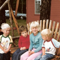Dan with cousins Carl, Meg and Thomas Jackson at his favorite place, Belle Taine, @ 1980 - Sue Jackson