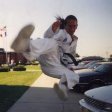 John Newhouse of West Bend, a student of Master Menneke  in the 90's Emmetsburg tykwondo class,  - Holly Newhouse