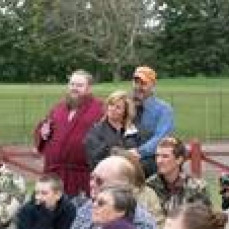 Only Mark would do this at a wedding....wore a bathrobe because the invite said