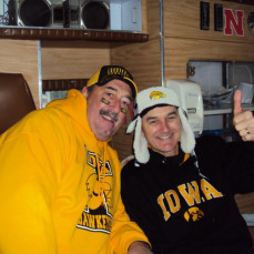 Avid Hawkeye Fan!! Everyone loved his Hawkeye ear flap hat! - Jennifer Gibbons