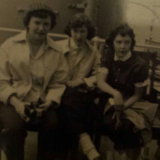 WMHS senior trip 1954, to Mackinaw Island with girlfriends, Twila & Pat. - Karen Burdette