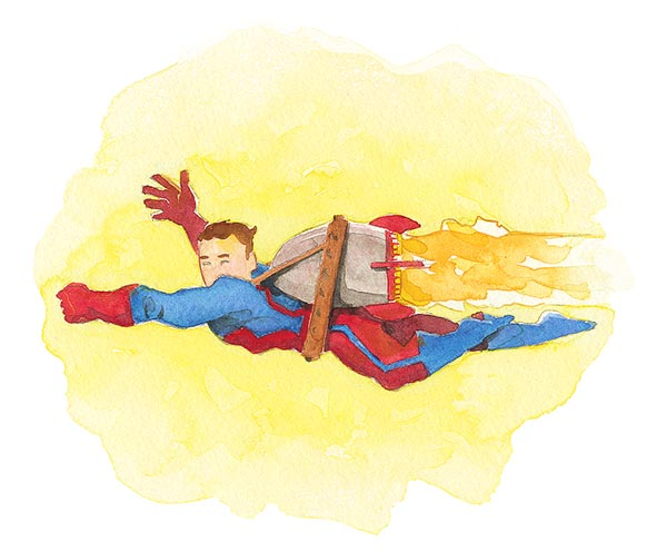 Watercolor Super Hero Jetpack Full