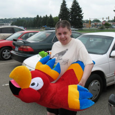 Ron enjoying a new stuffed bird.  Photo taken c.2011 - David Gottschalk