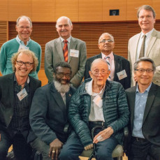 Ed Lightfoot with past PhD students on his 90th birthday celebration at UW - Manos Mavrikakis