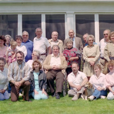 John poses (front row at left) with the extended Grupp family in Mason City, Iowa in late spring of, possibly, 1987.  - Eric Grupp