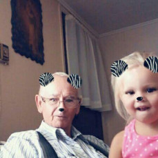 Grandpa Boggs and Anna Doing Snapchats.( Anna is daughter of Holly Fountain) - Heather Fountain
