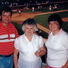 Paul, Mom, and Pam at a Cubs game. - Pat Williams