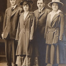 Wedding photo of Earl and Evelyn Baker with George and Anna Seis - John Baker