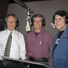 Randy Stuhldreyer, Gene Frank and Dick in studio recording