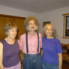 Arthur between Barbara and Karen Gogolick, grandaughters of Elizabeth Fuldauer - Barbara Gogolick