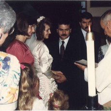 Fr. Adams With Jeanne & Hassan Tajvar on their wedding day. - Jeanne Kenkel-Tajvar