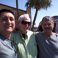 Photo of C.T. (middle) with sons, Rivelino and Paul White in August 2017 just before Paul died. - Donald White