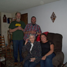 Helen flew out to Eugene, Or to visit us in 2014.  This picture is of Helen, with son, James, and grandchildren, Leif, and Livia from that visit. - Lorna Vinson
