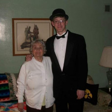 My son Kyle Harland with Barb. She wanted to see him in his Tux and insisted in picture with him... We will cherish our memories with her..  - Dawn Harland