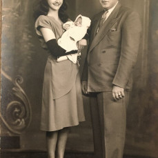 Joe's baptism 1947 - Godmother Barbara Douglas & Godfather John Stasienko. - Donna