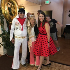 Rebecca with Dee & Denny at Anthony's 50th birthday celebration. - Rebecca Houser