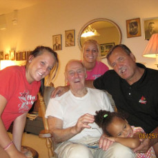 Dad with Kelsey (left), Christy (center), Favorite Son-in-Law (right, always to the right) and Great Grand Daughter Adelyn (smallest one)- June 2010 - John Jendrzejewski