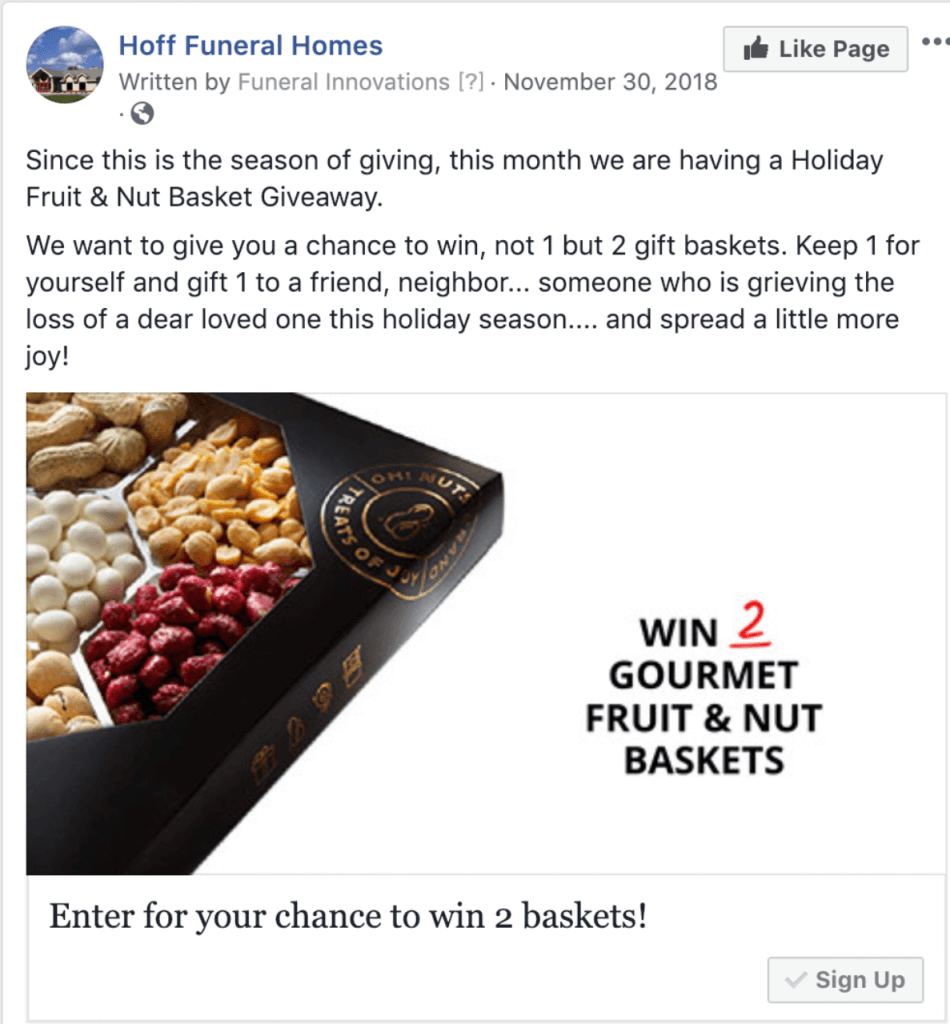 Hoff Funeral Home FB giveaway example